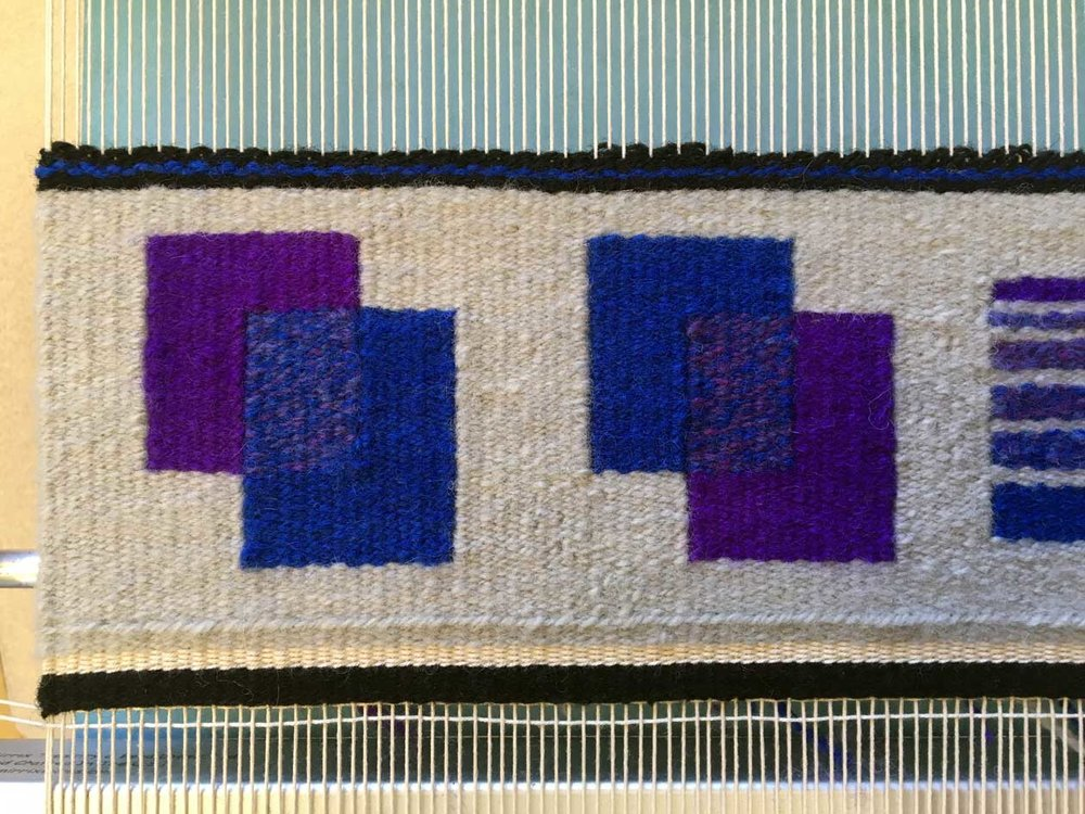 Some transparency work by Dawn who is also in my  Warp and Weft: Learning the Structure of Tapestry  online class.