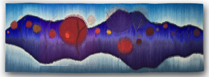 Rebecca Mezoff, Lifelines. 72 x 24 inches. Hand-dyed wool tapestry.
