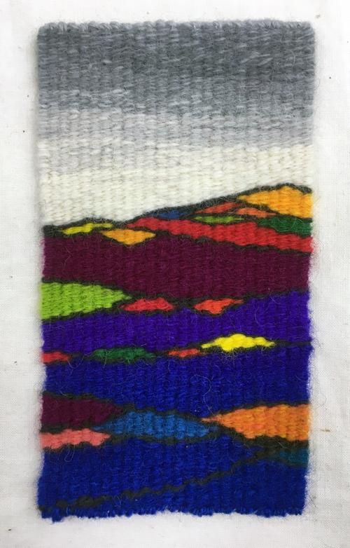 Rebecca Mezoff, Penland Landscape, 3 x 5 inches, tapestry