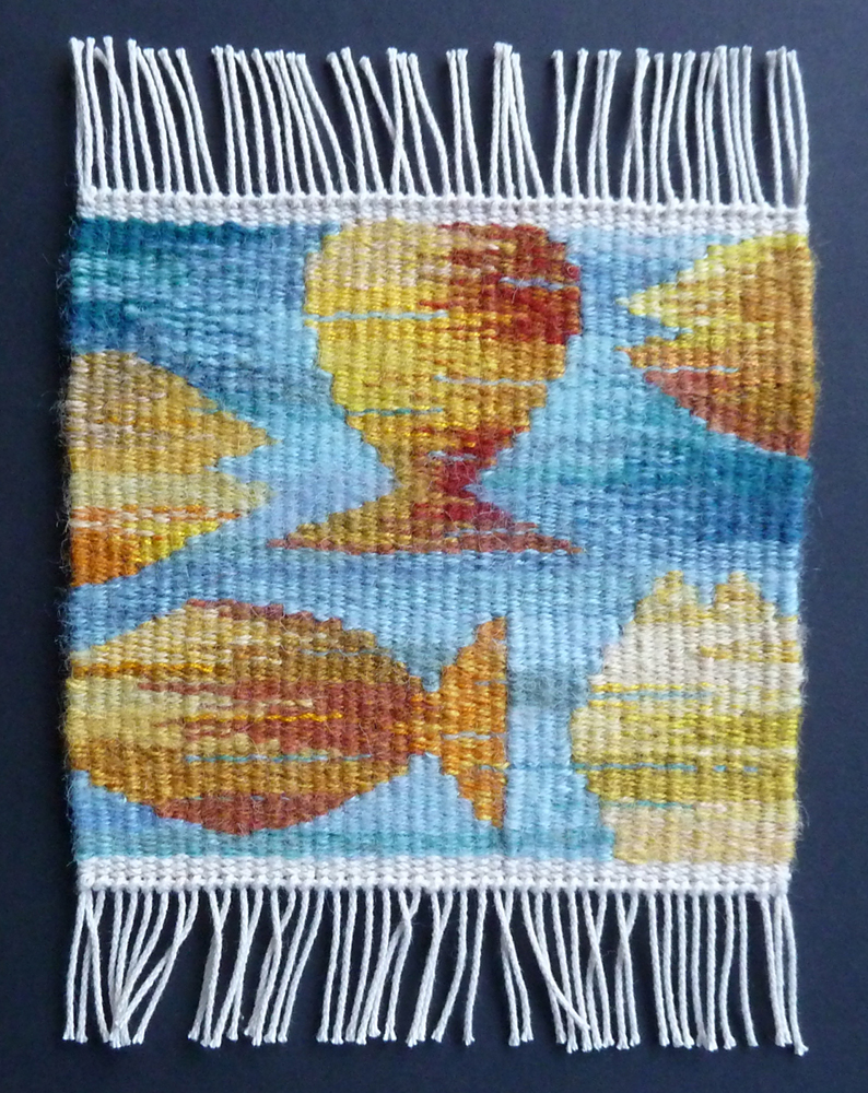 Helen Smith, Swim Little Fishies, weaving done in Little Looms class