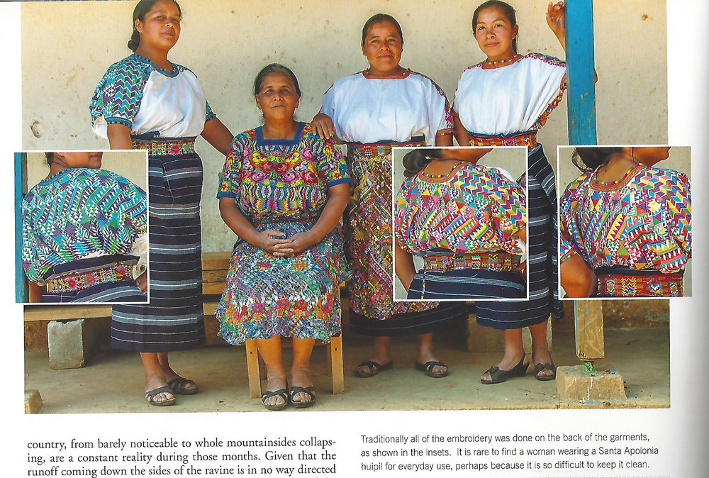 From the book Traditional Weavers of Guatemala, pg 24, photo by Joe Coca. Eugenia is seated and her daughters wear the traditional huipil of their community.