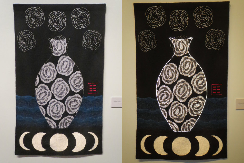 Ellen Ramsey, Repose, 60 x 36 inches. Left photo is without flash, right is with flash.