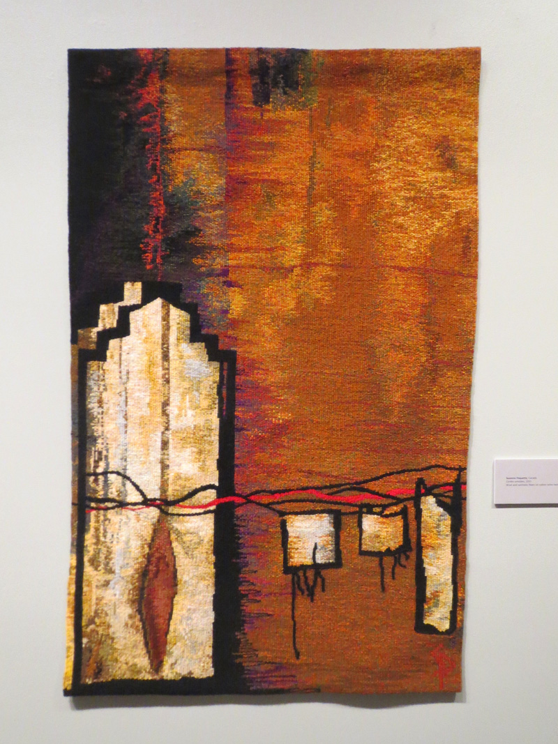 Suzanne Paquette, Cordes Sensibles, 60 x 36 inches, wool and synthetic fibers on cotton seine twine, tapestry weaving