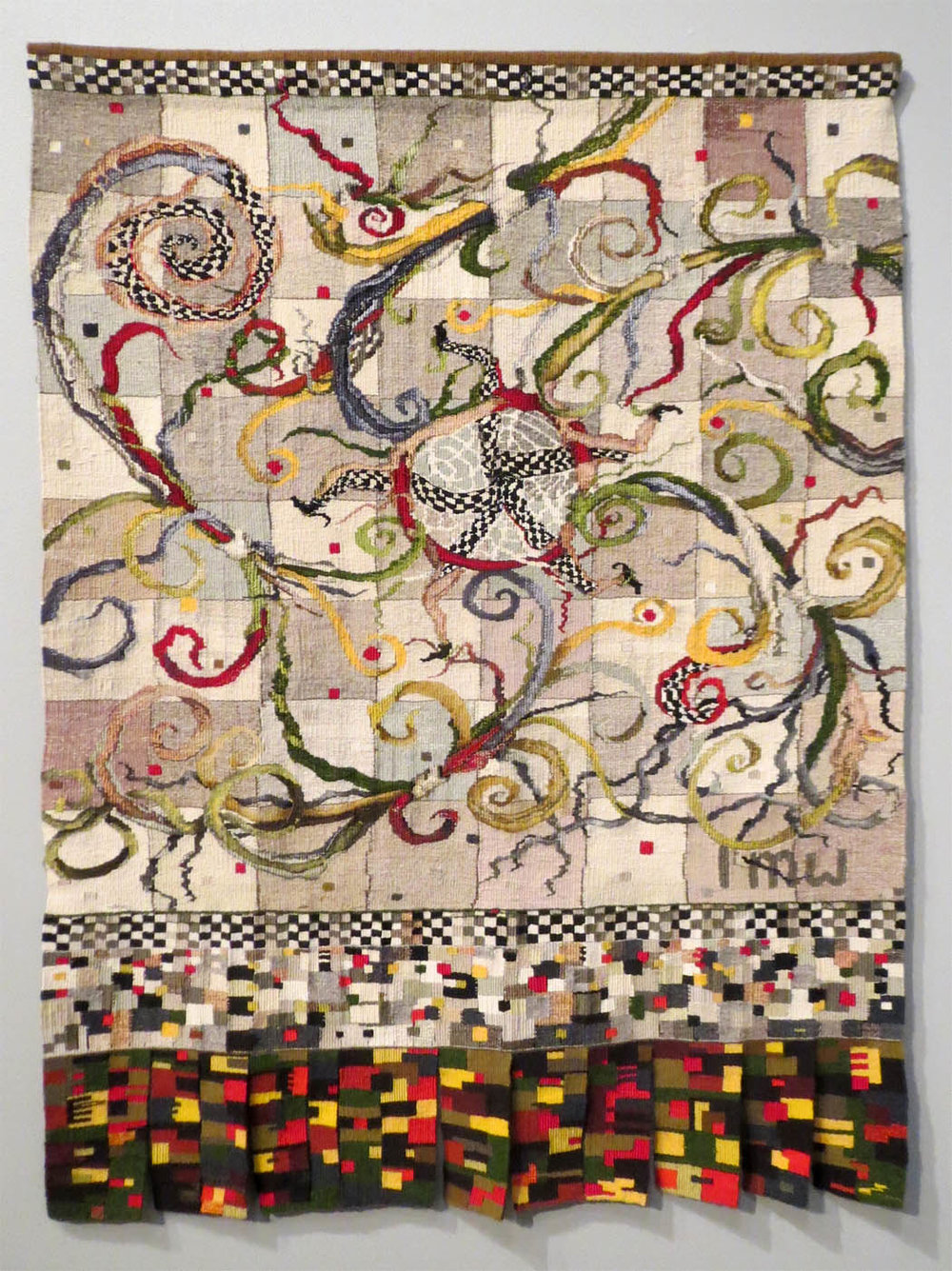 Linda Wallace, The Journey Back, 44 x 33 inches, cotton seine twine warp, wool, linen, cotton, silk weft, tapestry weaving