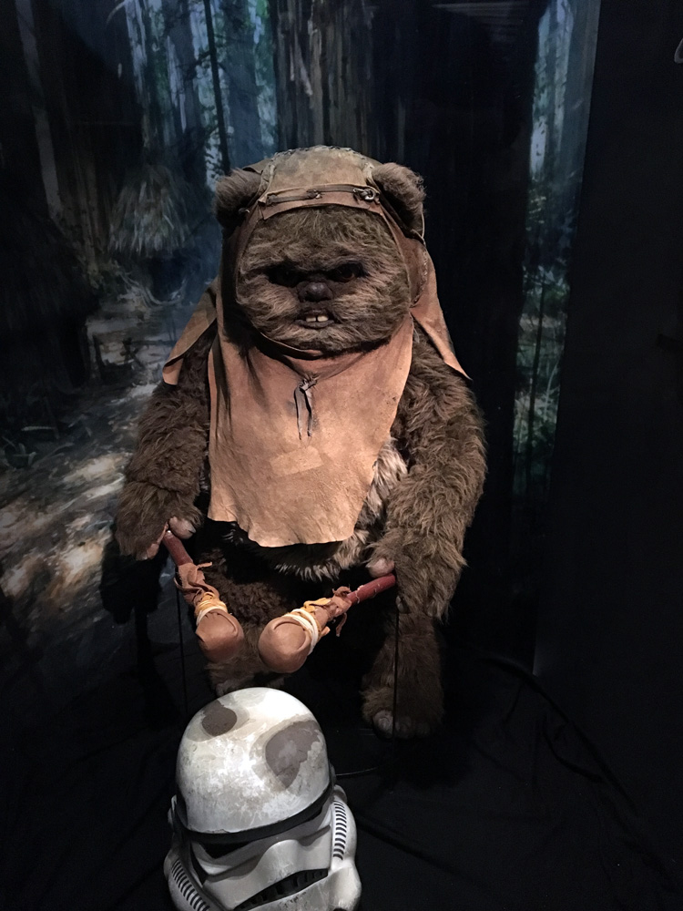 Ewok doll display.