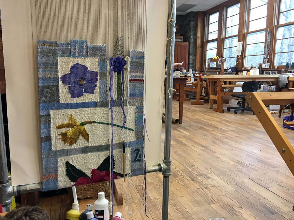 Tommye Scanlin's 2017 tapestry diary in process in the Lily Loom house textile studio at Penland.