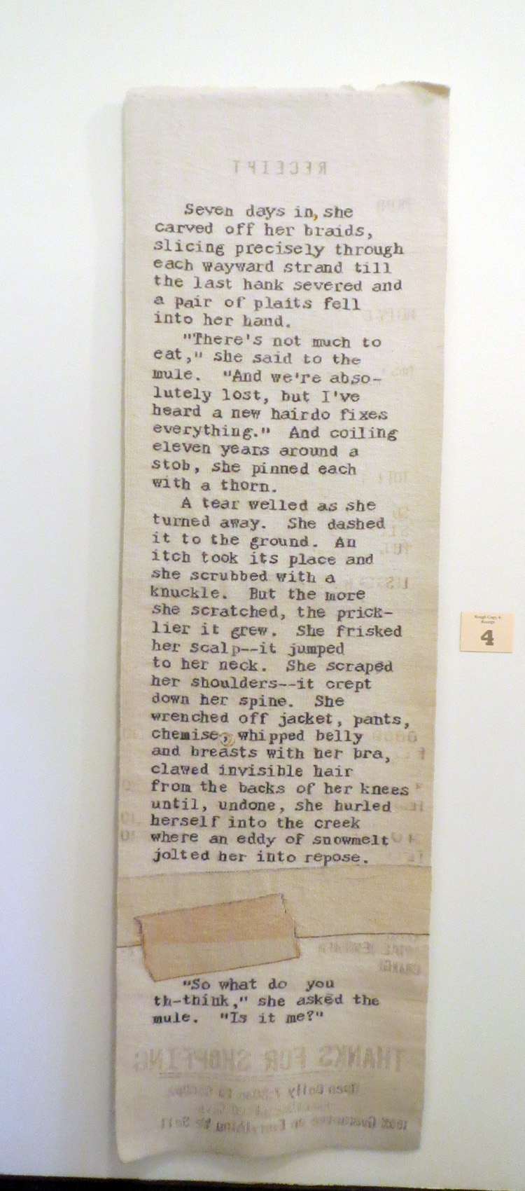Sarah Swett, tapestry,  Rough Copy #4: Receipt .