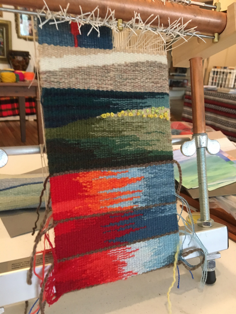 Elizabeth also was working on sampling for a much bigger tapestry she will weave in her own studio. Her piece is about fire and ice.