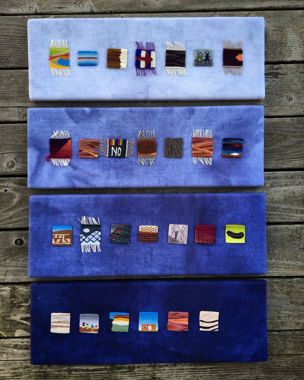 Rebecca Mezoff, The Petrified Forest Tapestries. Twenty-seven 2 x 2 inch pieces.