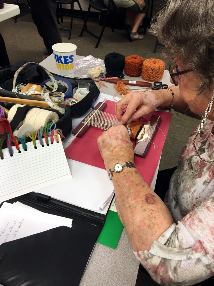 Donna took all of my classes (as did a surprising number of other attendees!). Here she is working on a Hokett project.