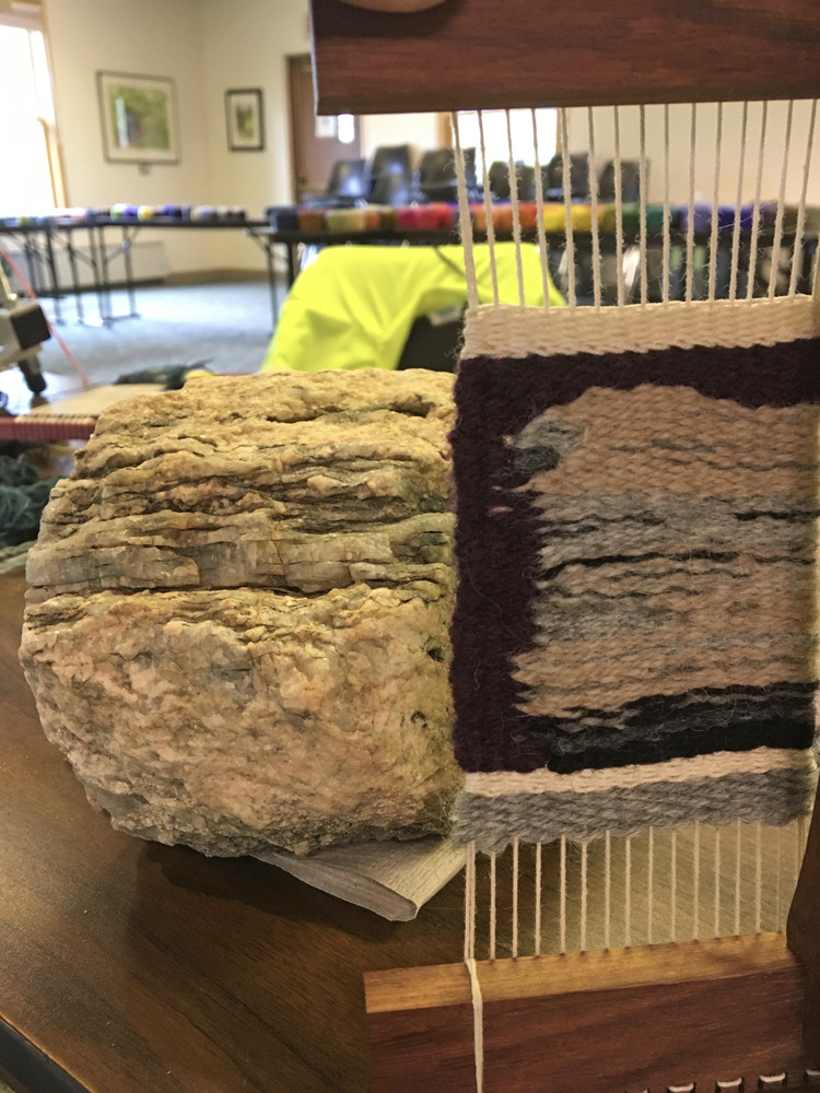 Jon found this wonderful rock on a walk and wove this interpretation of it in just a few hours on a Hokett loom at 6 epi.