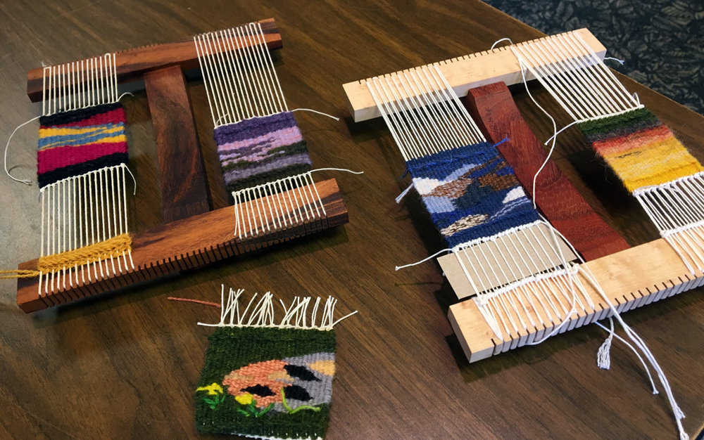 Carole had a couple looms going at once (a 6-dent and an 8 dent Hokett). She finished a wide array of scenes from the mountain, all beautiful and varied.