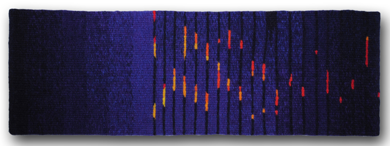 Rebecca Mezoff,  Barn Burned Down,  5 x 17 inches, hand-dyed wool tapestry