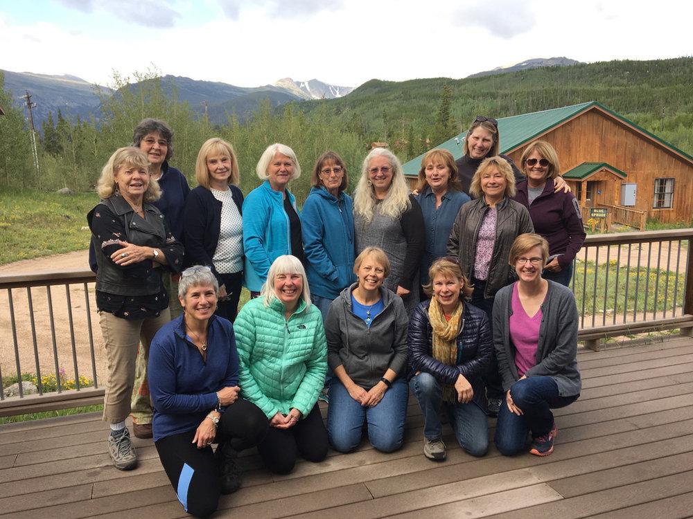 Tapestry camp August retreat. Front row: Paula, Marilyn, Cynthie, Leslie, myself. Back row: Elisabeth, Ute, Elizabeth, Gunnel, JD, Kevynne, Beth, Jane. Back left: Carol, Marilyn.