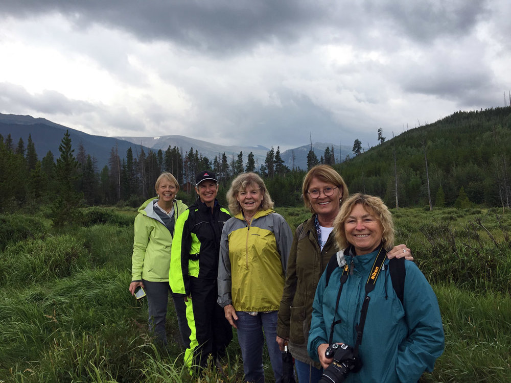 Looking for moose: Cynthie, Paula, Elisabeth, Mar, Jane