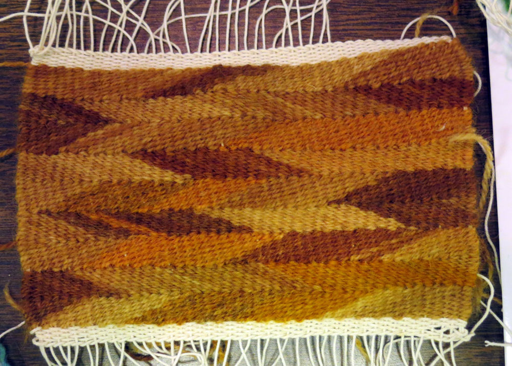 One of Gunnel's wedge weave pieces using naturally dyed yarn