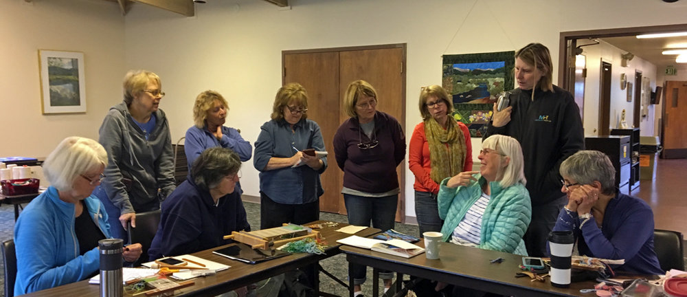 Rereat review: Gunnel, Cynthie, Jane, Beth, Mar, Leslie, Carol standing. Ute, Marilyn, and Paula seated.