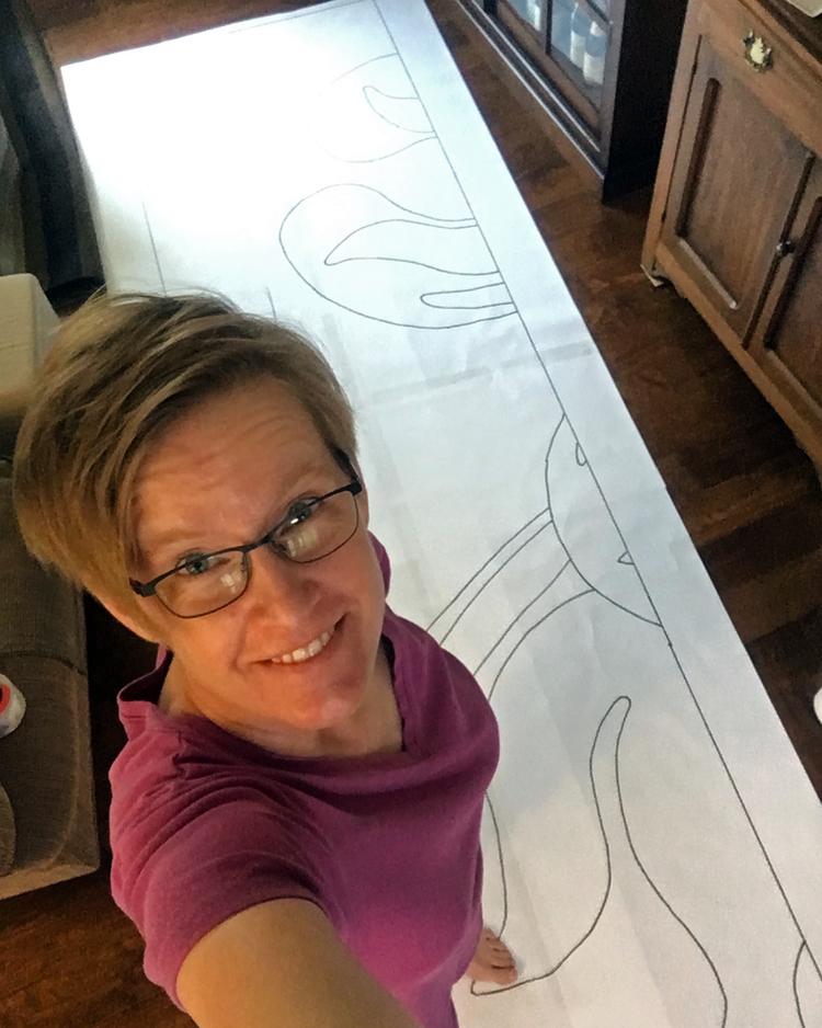 Rebecca Mezoff, tapestry cartoon, panel one of three.