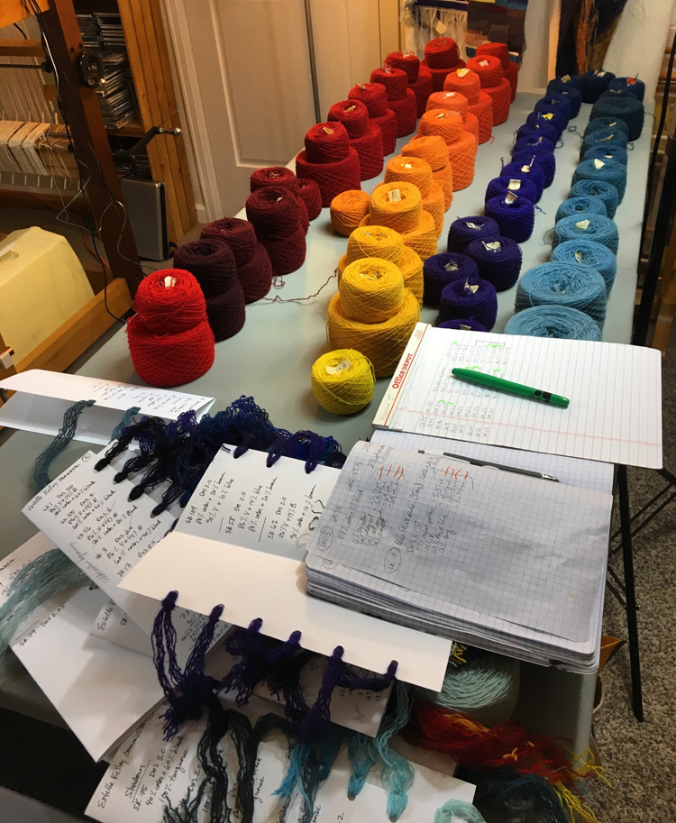 Rebecca Mezoff, dye sample yarns for commission 2017