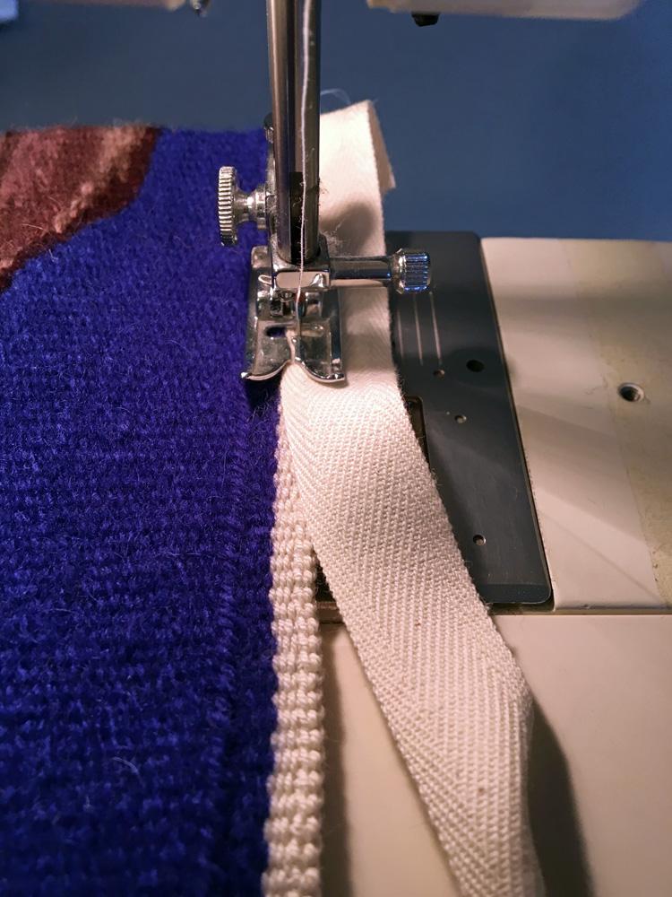 Stitching on twill tape