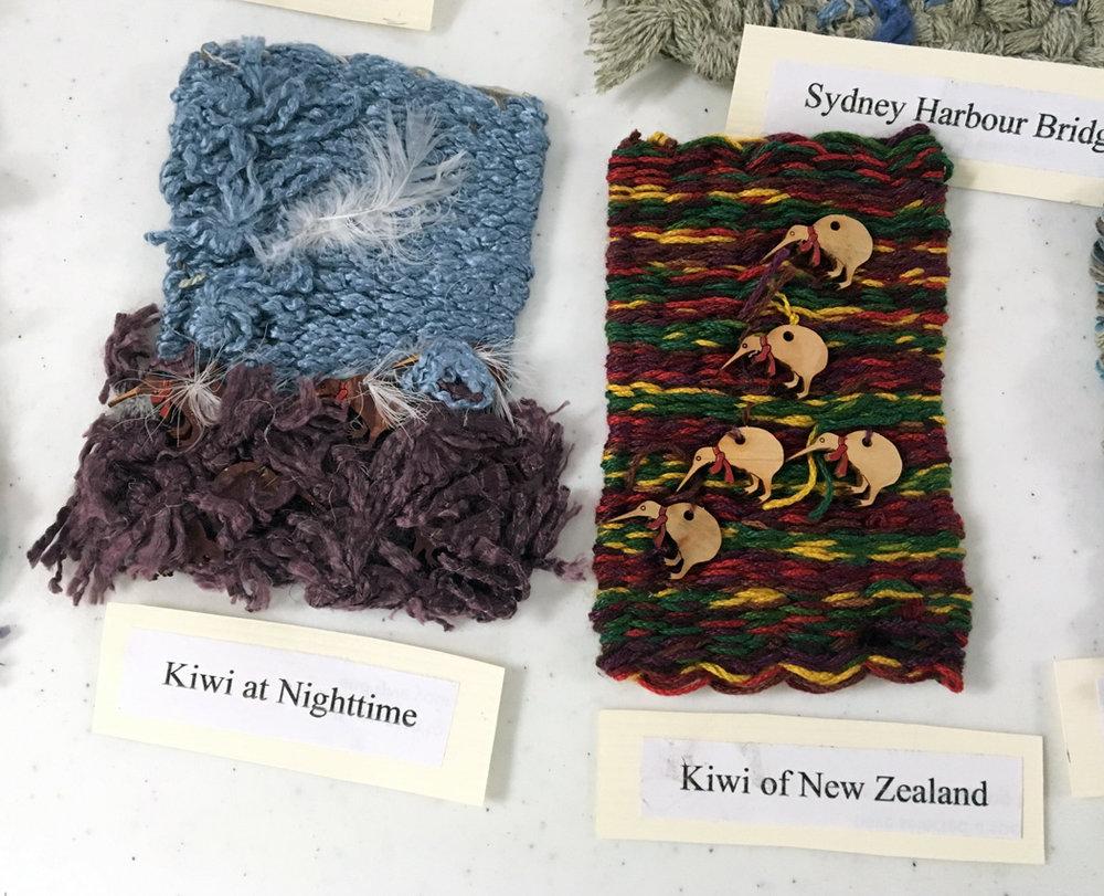 Travel weavings by Jane Thune