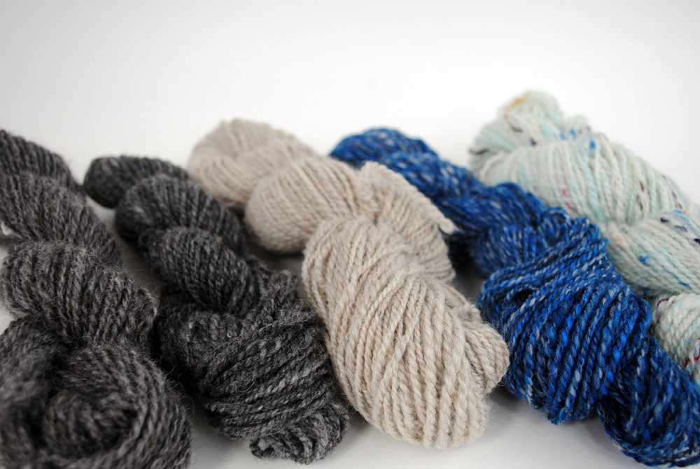 Handspun yarn from the batts we made in the Clemes drum carder class.