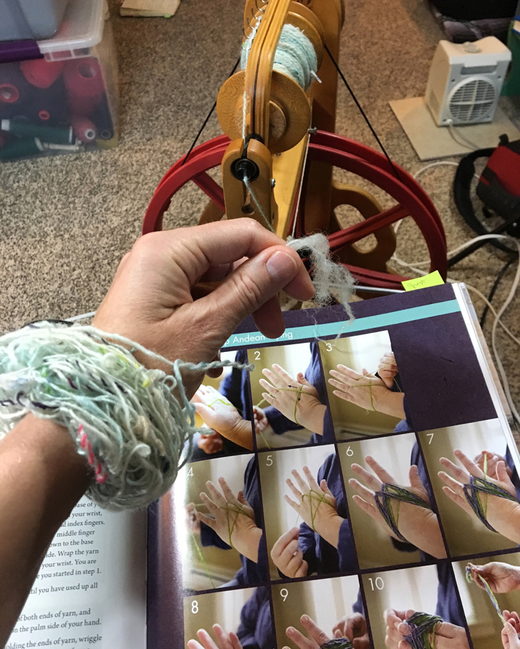 Learning to Andean ply from  Jillian Moreno's  book, Yarnitecture