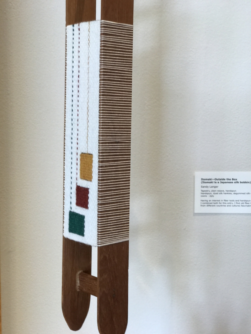 Sandra Langer,  Rag Shuttle Traveling Through Warps . This piece won the Hawaii Stitchery and Fiber Arts Award.