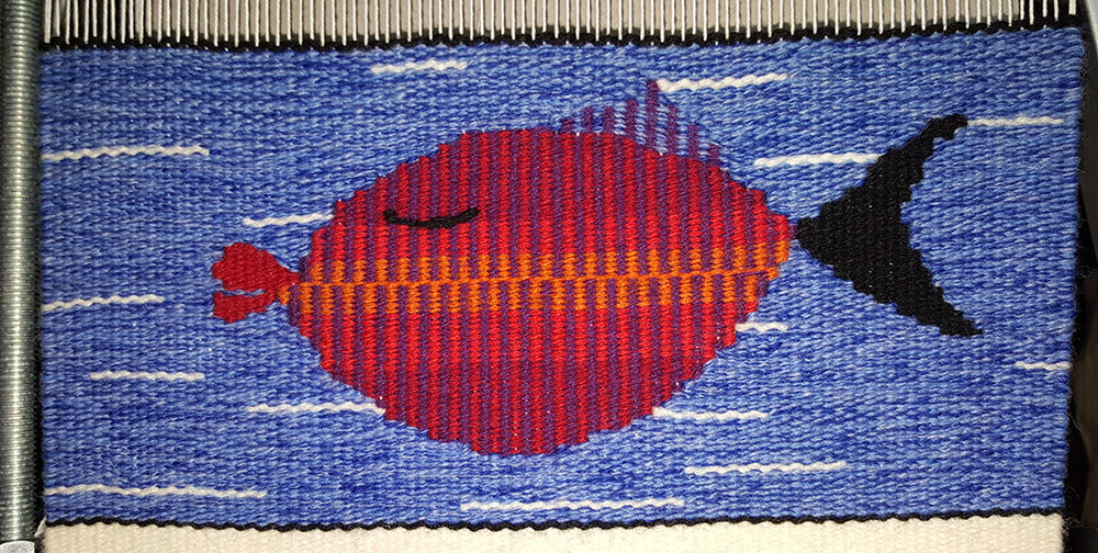 Louise Adams, tapestry woven in Color Gradation Techniques for tapestry online class with Rebecca Mezoff