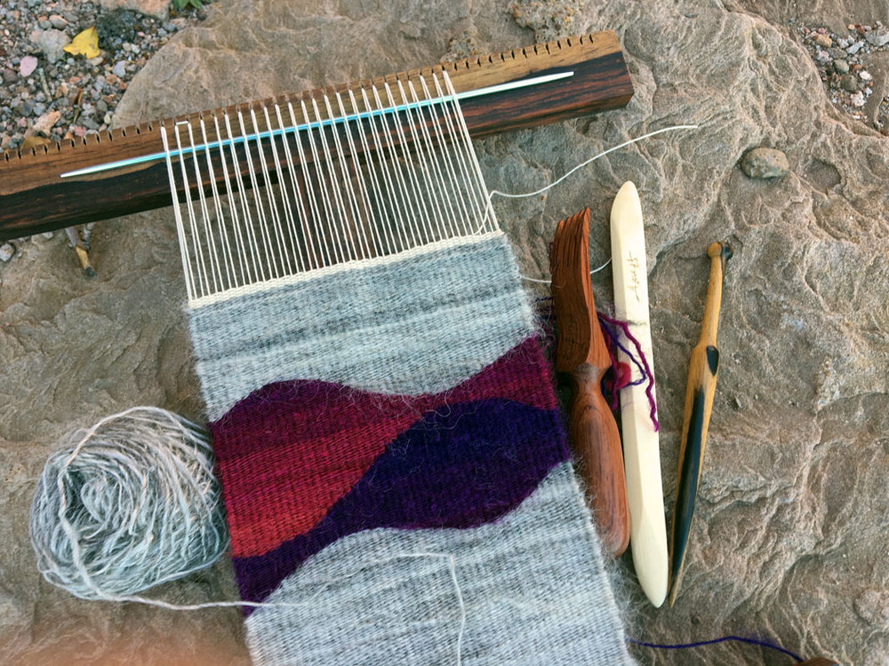 Hokett loom weaving with handspun