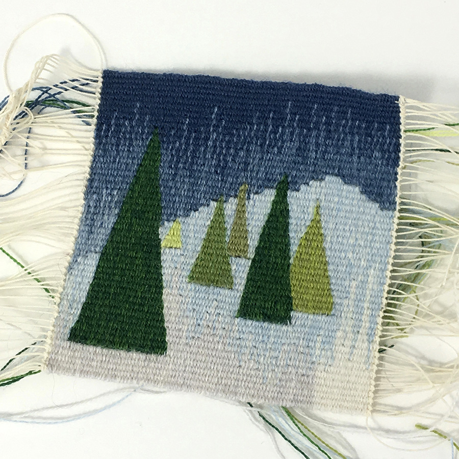 Rebecca Mezoff, Winter Trees 2017, woven at 12 epi with Weaver's Bazaar 18/2 wool on a 6-dent Hokett loom