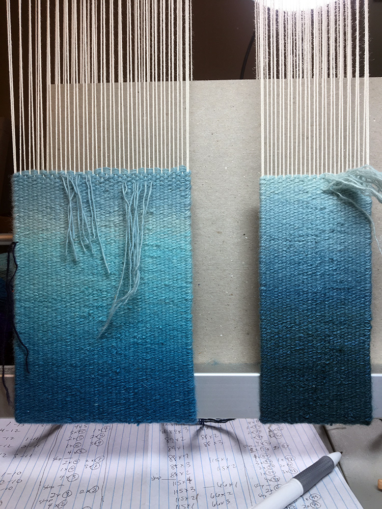Rebecca Mezoff, woven samples for a commission. This is the back of the weaving.