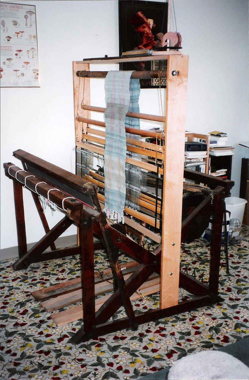 Rebecca Mezoff's first loom. (Isn't that carpet astounding?)