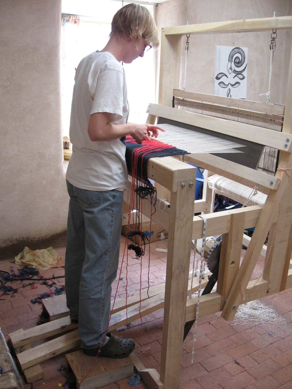 My first tapestry loom: a Rio Grande walking loom which I made with the help of my Dad in a class at Northern NM College.