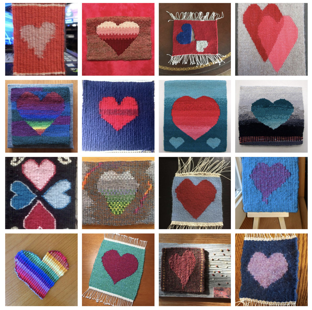 A few of the tapestry hearts from 2017. See  THIS  blog post for more.