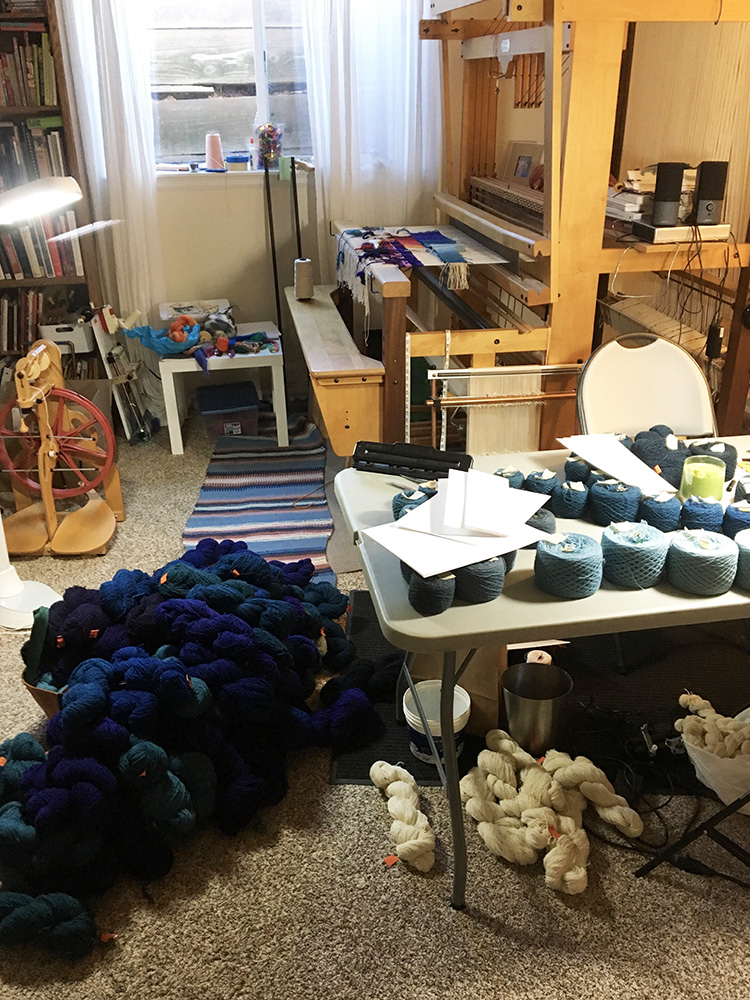 Mezoff studio, piles and piles of yarn. (Kinda fun, right?)