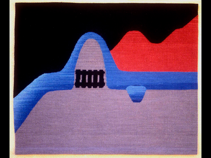 James Koehler,  Passage,  1987. 18 x 22 inches, hand-dyed wool, tapestry
