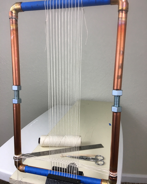 Copper pipe loom with infinitely adjustable warping options