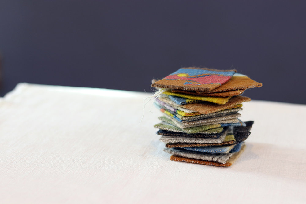 Four selvedge tapestries by Sarah Swett