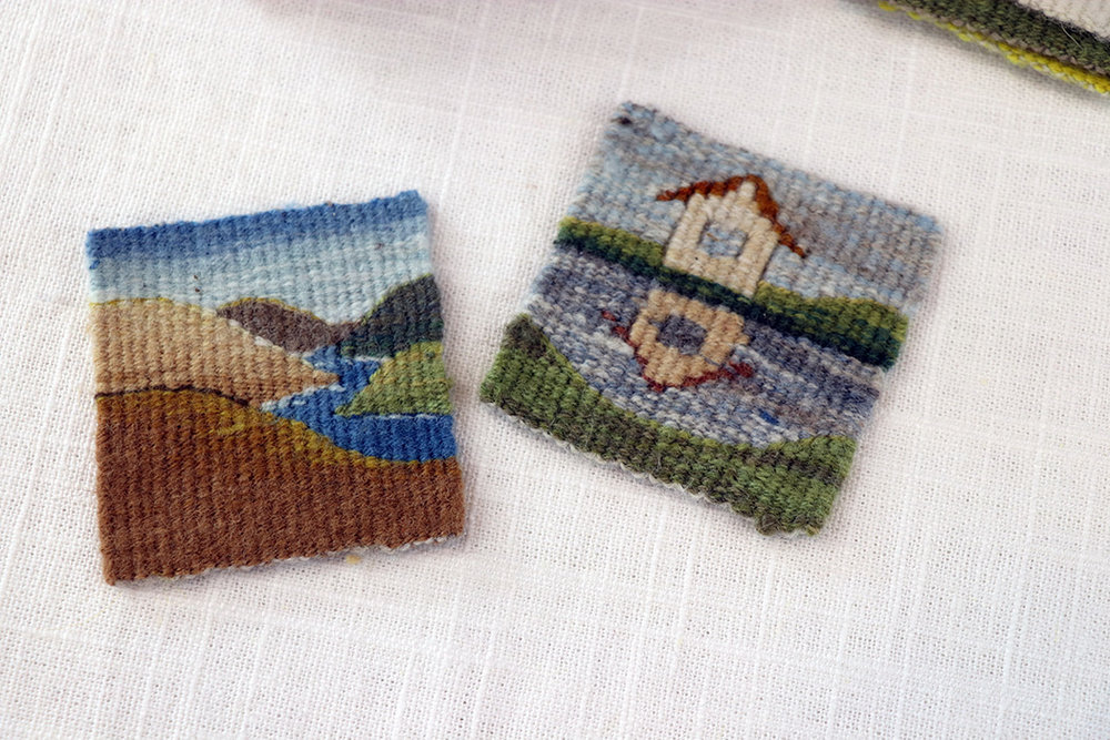 2.5 inch square four selvedge tapestry weavings by Sarah Swett