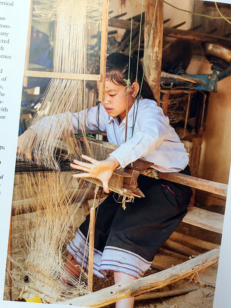 Silk Weavers of Hill Tribe Laos,  from page 174 of photograph by Joe Coca. Please see the book for hundreds of gorgeous photos and more explanatory photos of the weaving system.
