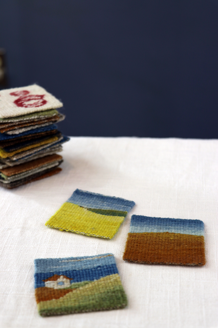 Four selvedge weavings by Sarah C. Swett
