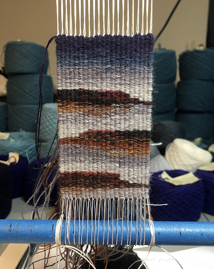 Rebecca Mezoff, four-selvedge tapestry on the loom