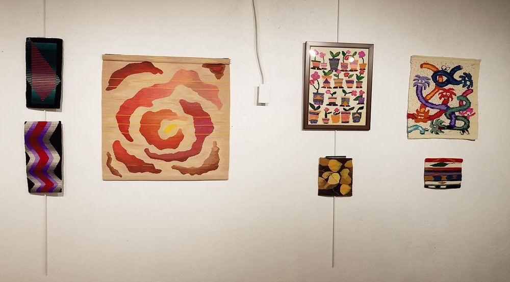 Webster Arts tapestry show.  Warp and Weft: a curated exhibit of work produced by students of Rebecca Mezoff