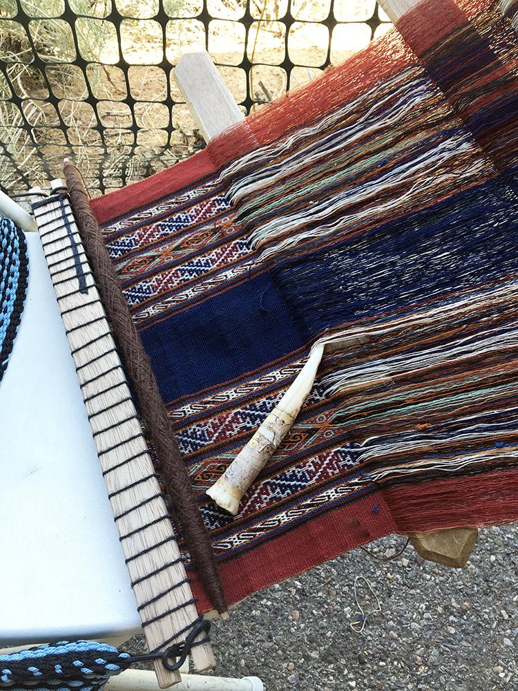 Backstrap loom near Nilda's booth (Peru)
