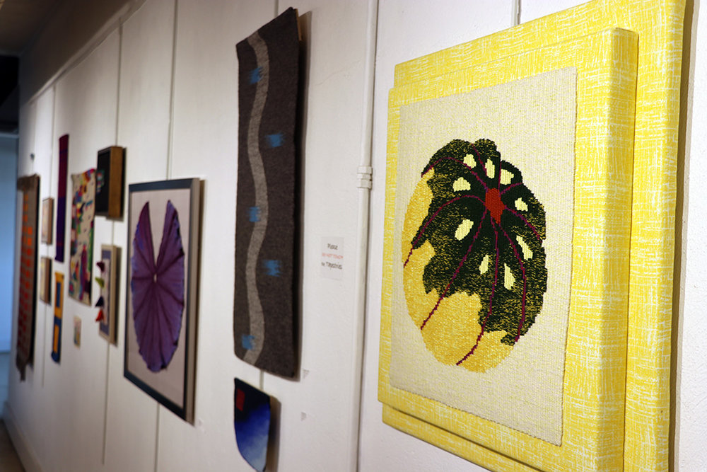 foreground: Victor Dively,  Sun-kissed Acorn Squash,  four-selvedge tapestry