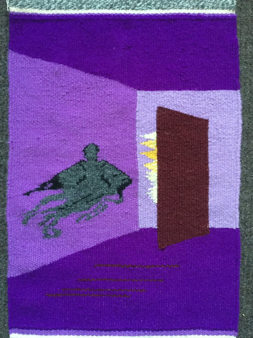 Marcus Lee, tapestry woven while taking  Warp and Weft  online course with Rebecca Mezoff
