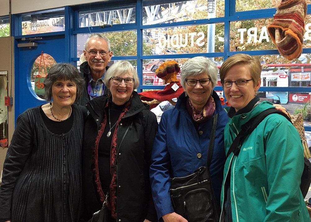A fun group of tapestry weavers meet up in Barbara's studio on Granville Island. Barbara Heller, Michael Rohde, Linda Wallace, Jane Kidd, Rebecca Mezoff