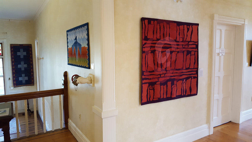 Highfield Hall show 2018 photo: Lisa Almeida  Tapestry to the right is Emergence I by Rebecca Mezoff. Tapestry in the center is by  Sarah Warren . Left by  Sarah Hotchkiss .