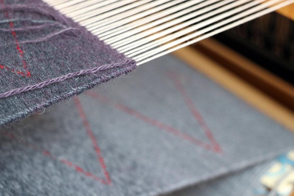 Rebecca Mezoff, tapestry in progress on her Macomber loom